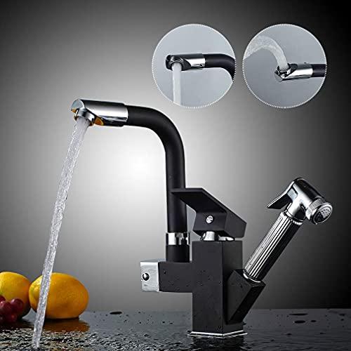 Auralum Top Kitchen Faucet 360 Mezclador giratorio multifuncional para fregadero con rociador extraíble Grifo de cocina con caño giratorio Grifo mezclador de cocina Color negro