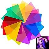 JUNMEIDO 14 pcs Filtros de Colores para Luces Filtros Gelatina para Luces Gelatina de Colores Transparente Filtro de Luz de Gel Filtro de Correccion Color para Niño Fotografía Iluminación- 29,7*21 cm