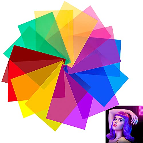 JUNMEIDO 14 Stück Farbfilter Fotografie Farbfolie Filter Transparente Gelfilter Folie für Foto Studio Strobe Blitz LED Licht Scheinwerfer (Rot Orange Gelb Blau Lila Rosa )