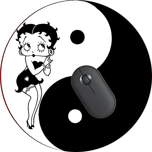 Computer Gaming Mouse Pad Non-Slip Rubber Material Round Mouse Mat for Office and Home Laptop Desktop Mousepad (8 Inch) - Beautiful Betty boop Yin Yang