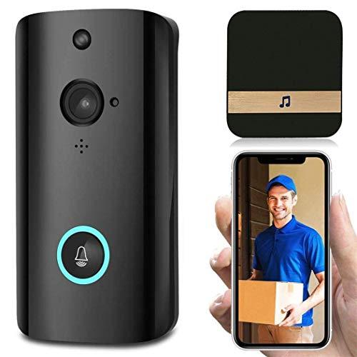 Yangangjin Draadloze video-deurbel, 2-weg video, nachtzicht, PIR-bewegingsdetectie en app-besturing voor iOS, Android