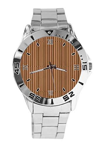 Reloj de pulsera de diseño de bambú con esfera plateada y correa de acero inoxidable clásico para hombre