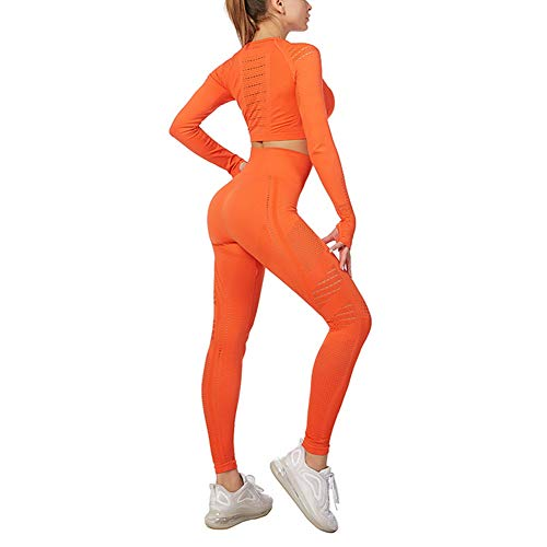 Conjunto de ropa deportiva para mujer con parte superior y leggings, ajustables, para gimnasio, conjunto de chándal Naranja naranja L
