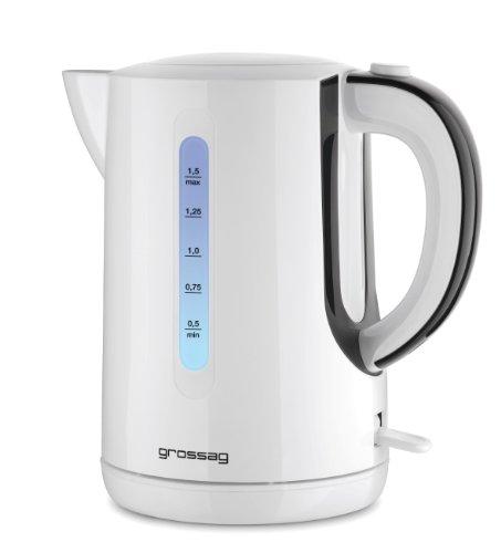 grossag Wasserkocher WK 70.00 | 1,5 Liter | kabellos mit 360°-Station inkl. LED Beleuchtung | Weiß