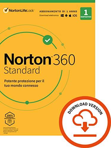 Norton 360 Standard 2021, Antivirus per 1 Dispositivo Licenza di 1 anno Secure VPN e Password Manager PC, Mac, tablet e smartphone Standard PC/Mac, Codice d'attivazione via email