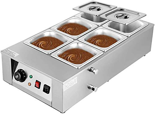 LJXiioo 1500W elektrische Schokoladenschmelztiegelmaschine, 6 Tanks Kommerzielle elektrische Schokoladenheizung für Schokoladenkäsesuppe, 32-176 ℉