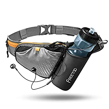 """FREETOO 0.4 lb Lightweight Running Belt with 28oz Water Bottle Holder No Bounce Running Waist Belt for Phone up to 6.5"""" Hydration Belt with Large Storage for Marathon Hiking Jogging and Daily Use"""
