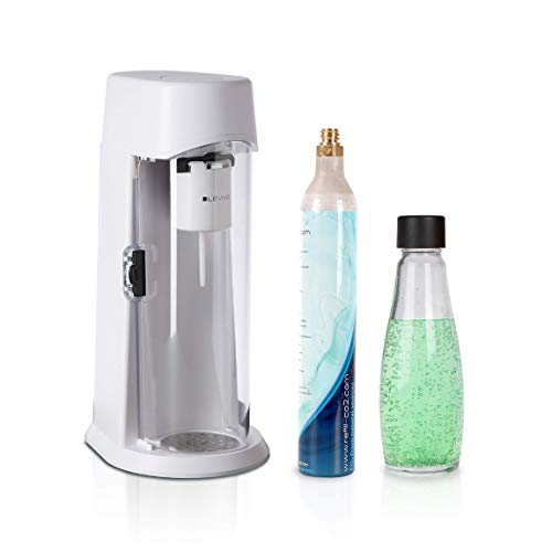 Levivo Wassersprudler JUICE inkl. 0,6l Glasflasche und 60l CO2-Zylinder, sprudelt Säfte, Softdrinks und jedes Getränk ihrer Wahl, für 60l und 120l CO2-Zylinder, licensed technology by drinkmate