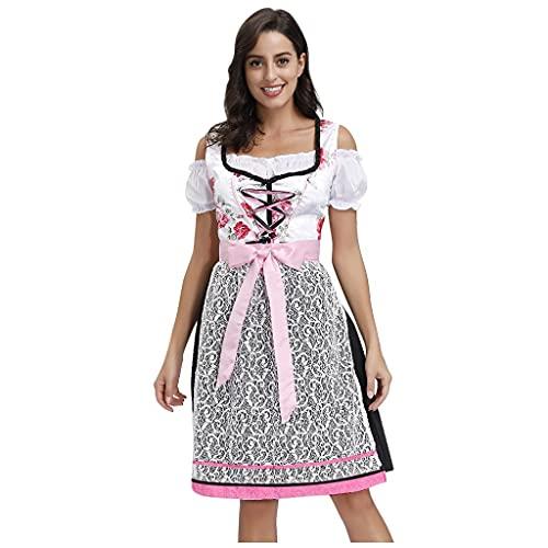 NHNKB Maid Dress - Vestido de tirolesa para mujer, 3 piezas, vestido regional, blusa, delantal, disfraz de maid francés, disfraz de casa para mujer y niña