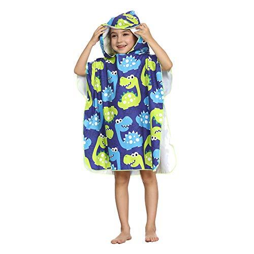 ED-Lumos Asciugamano da Bagno con Cappuccio per Bimba Poncho da Spiaggia per Bambini Accappatoio in Microfibra 4-7 Anni Dinosaur Blue And Green