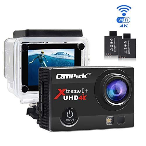 Campark Action Cam 4 K WiFi Sports Action Fotocamera 16 MP Fotocamera Ultra Full HD Casco Impermeabile con Dual 1050 mAh batterie e Accessori Kits Gratuita