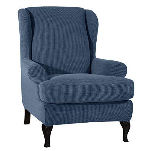 CHUN YI Ohrensessel Schonbezug Jacquard Elastische Sofaüberwurf Schutzhülle aus elastischem Sessel Husse für Ohrensessel (Denim Blue, Ohrensessel)