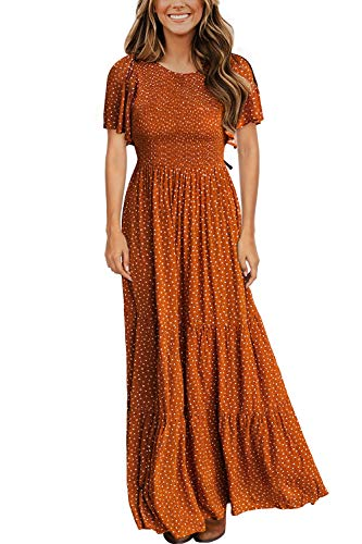Women's Round Neck Flutter Sleeve Smocked Floral Pleated Maxi Long Dress Camel L
