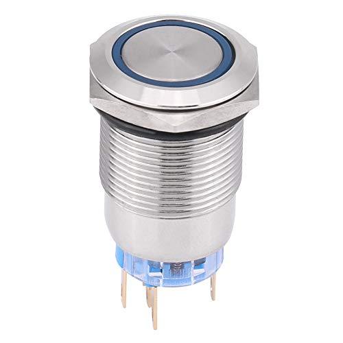 Preisvergleich Produktbild Qiilu Drucktastenschalter,  19 mm,  12 V LED,  wasserdichter,  rostfreier,  selbstsichernder,  ringförmiger,  rastender Drucktastenschalter,  Silber(Blau)