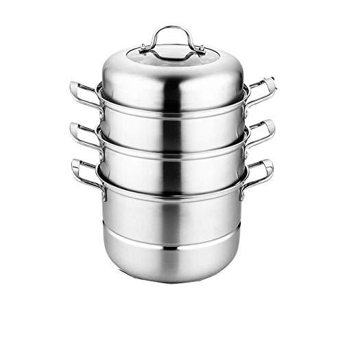 GJP Vaporizador de Acero Inoxidable de Tres Capas Espesado Grande de 2 Capas con Tapa de Vidrio Utensilios de Cocina Juego de ollas y ollas olla-C-32CM