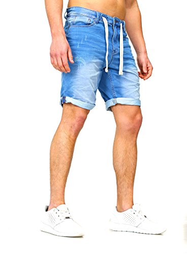 Sweat Jeans Denim Jogger Shorts Sommer Kurze Hose Sublevel 98-86 dunkelblau hellblau W31