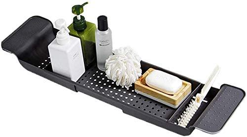 Bandeja de almacenamiento para bañera, mesa de baño, apta para todos los accesorios de baño, como copa de vino, libros, toallas, bola de lavado, champú, estante de baño plegable (gris oscuro)