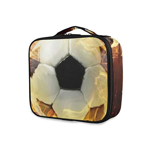 SUGARHE Passion Football Brûlant Sport Thème Football Avec Flamme Splash Art Abstrait,Beauty Case,Borsa Cosmetica Portatile Professionale per Trucco per