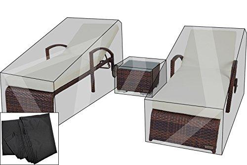 OUTFLEXX Premium Abdeckhauben-Set für Liegen-Set 7762 (2 Liegen à200x70x30cm), schwarz, wasserbeständig