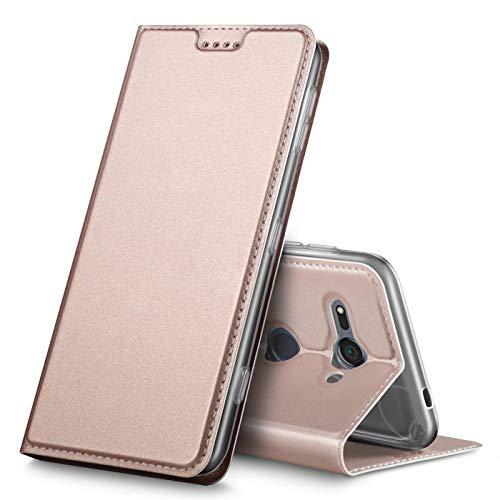 Verco Handyhülle für Xperia XZ2 Compact, Premium Handy Flip Cover für Sony Xperia XZ2 Compact Hülle [integr. Magnet] Book Hülle PU Leder Tasche, Rosegold