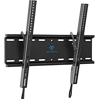 PERLESMITH Tilting TV Wall Mount Bracket Low Profile for Most 23-55 inch LED LCD OLED Plasma Flat Screen TVs with VESA 400x400mm Weight up to 115lbs PSMTK1 Black