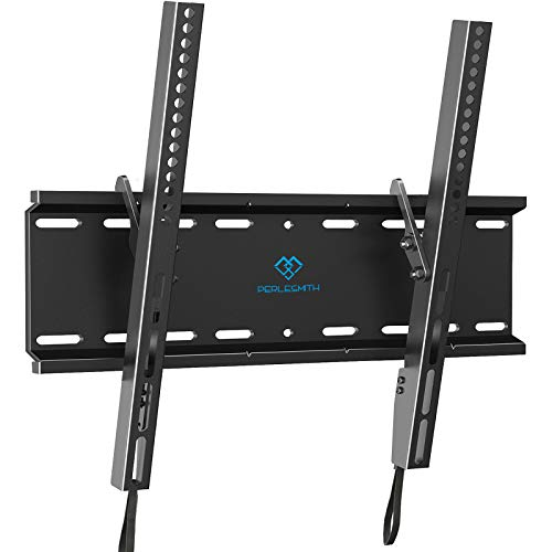 PERLESMITH Tilting TV Wall Mount Bracket Low Profile for Most 23-55 inch LED, LCD, OLED, Plasma Flat Screen TVs with VESA 400x400mm Weight up to 115lbs, PSMTK1, Black