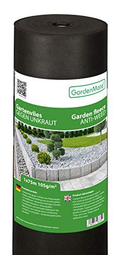 GardenMate Rollo de Malla geotextil prémium de 1 m x 75 m y 105 g/m² – Geotextil extrarresistente para Malas Hierbas – Alta estabilización contra UV – Permeable al Agua – 1 m x 75 m = 75 m²