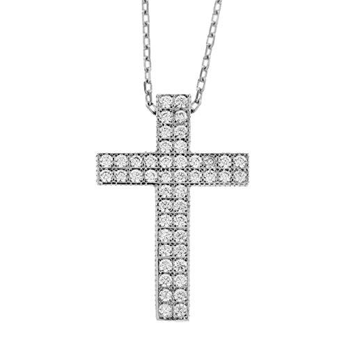 Echt goud dames zirkonia kruis met ketting sieradenset witgoud hanger gouden hanger set 2650