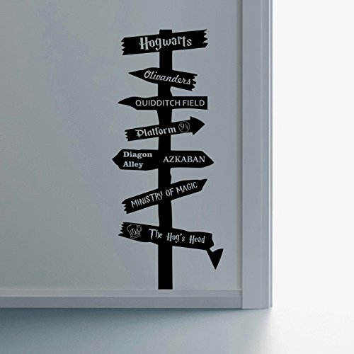 Harry Potter Inspired Road Sign Wall Art Vinyl Decal Sticker Childs Room Bedroom Nursery Playroom Gift Hogwarts Ministry of Magic Azkaban Olivanders 9 3/4 Quidditch Dumbledore Dobby - EPIC MODZ