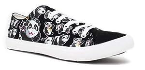 Panda Bear Sneakers | Cute Fun Gym Trainer Animal Canvas Tennis Shoe - Women Men