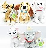 Animal Friends - Conjunto Completo 5 Felpa Peluche 17cm Simba Marie Dama Lady Dumbo Dálmata Perro León Elefante Gato Original