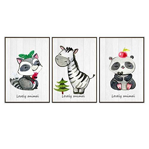 Juego De 3 Pósteres Cuadros Infantiles Para Habitacion Animal De Dibujos Animados De Personalidad Simple