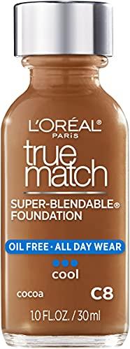 L'Oreal Paris Makeup True Match Super-Blendable Liquid Foundation, Cocoa C8, 1 Fl Oz,1 Count