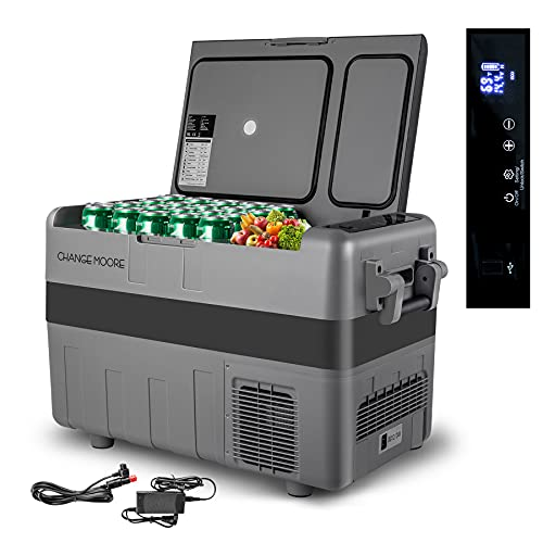 Dual-Zone 42-Quart Freezer/Refrigerator, Heavy-duty Car Cooler, Quickly Cool Down(-7.6℉~50℉) Fridge, 12 Volt Portable Compressor for Driving, Camping, RV Travel- with AC Adapter
