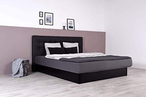 Wasserbett mit schwarzem geschlossenem Sockel + Wandpaneel Nuevo (200 x 220 cm, Mittlere Beruhigung)