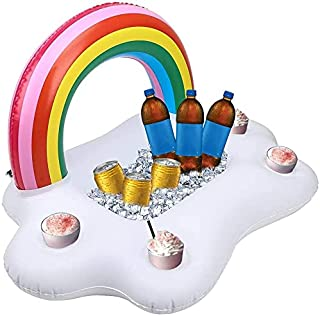 Mumoo Bear Colorful Inflatable Drink Holder Rainbow Beverage Floats Cup Coasters for Swimming Pool Party and Water Fun wit...