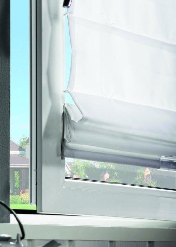 Klemmfix Raffrollo/Faltrollo FOLD mit Plissee Technik, frei verschiebbar, Farbe: grau, Größe: 120x160cm, für Deckenmontage, Wandmontage, Montage ohne bohren - mydeco