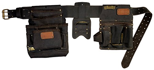 OX Tools Oil Tanned Top Grain Leather Drywaller's Rig, 22 tool pockets, Fastener Bag, Tool Pouch (OX-P263804)