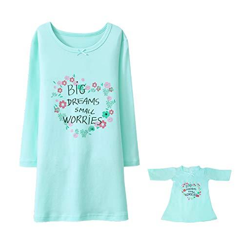 BLOMDES Mädchen Einhorn Nighties Cartoon Druck Nachtwäsche Baumwolle Schlafshirts für 3-12 Jahre Gr. 5-6 Jahre, Blume grün mit Puppenkleid