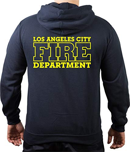 FEUER1 Sweat à capuche bleu marine, Los Angeles City Fire Department, jaune fluo - Bleu - Medium