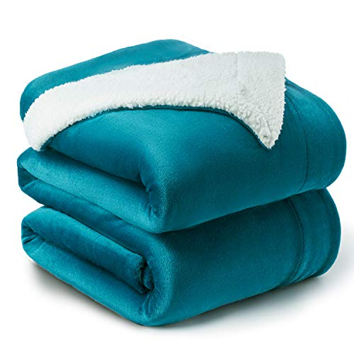 Bedsure Manta Reversible de Franela/Sherpa 220x240cm - Manta para Cama 135/150 de 100% Microfibra Extra Suave - Manta de Felpa Turquesa