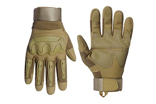 HIKEMAN Motorradhandschuhe Sport Taktische Handschuhe,Herren Voller Finger Touchscreen Schutzhandschuhe für Männer & Frauen Training Klettern Jagen Wandern Airsoft Paintball und Arbeit(Khaki, M)