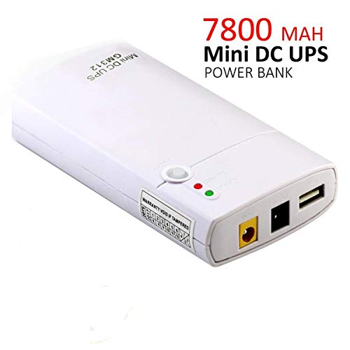 Mini UPS GM312 de 7800 mAh de Iones de Litio y Entrada de 11-13 V CC, Power Bank para Router Inalámbrico, Cámaras, Webcam,Teléfonos y Otros Aparatos