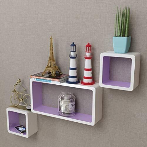 EBTOOLS Cubos Estantes Exhibidores Flotantes Tablero DMF, Estanterías de Pared Cubos Retro Estantería para Libros Escaleras de Rectangulares para Salon Dormitorio Blanco - Morado