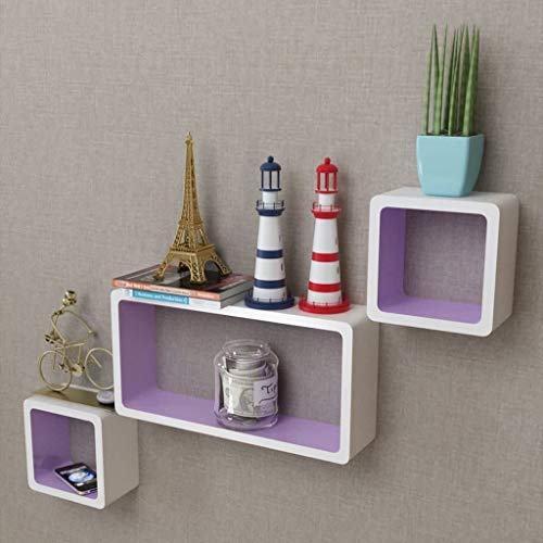 lyrlody Schweberegale, 3PCS Cube Regal Wand montiert Hängeregal Würfelregale Weiß-Lila Dekoregal für Wohnzimmer, Schlafzimmer oder Bürowand, Wand montiert, Quader