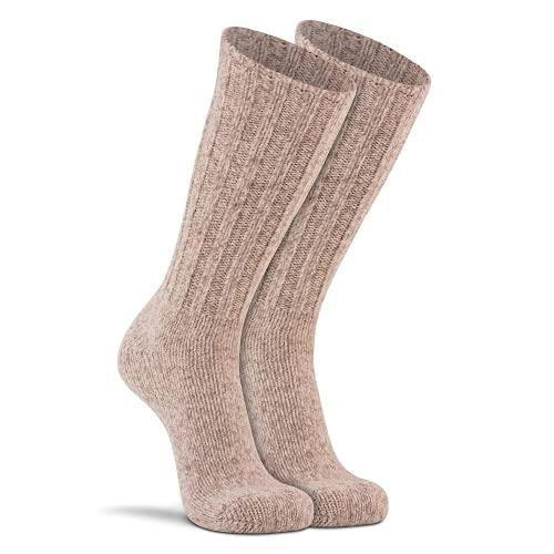 FoxRiver Norwegian Mid Calf Ragg Wool Hiking Socks Classic Heavyweight Men's Wool Socks for All Weather Outdoor Adventures - Brown Tweed - Large