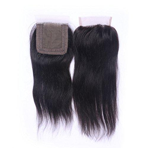 Sans partie Noir naturel 100% cheveux humains vierges Torchon Suisse en dentelle fermeture 10,2 x 10,2 cm soyeux droite