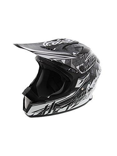 Cyclone ATV MX Dirt Bike Off-Road Helmet DOT/ECE Approved- Black/White -Youth LG