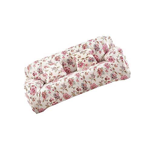 YuuHeeER 1 funda para sofá de 3 plazas, con estampado floral, elástica, antideslizante, color rosa