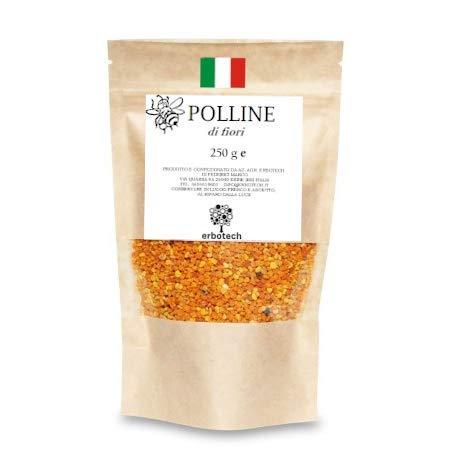 POLLINE d'api ITALIANO 250g - Puro di alta qualità, senza residui - Vitamine C, B1, B2, B3, Ferro, Zinco e Magnesio